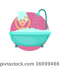 Girl taking a bubble bath and washing her hair 36099466