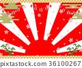 燈籠櫻花日出背景 36100267