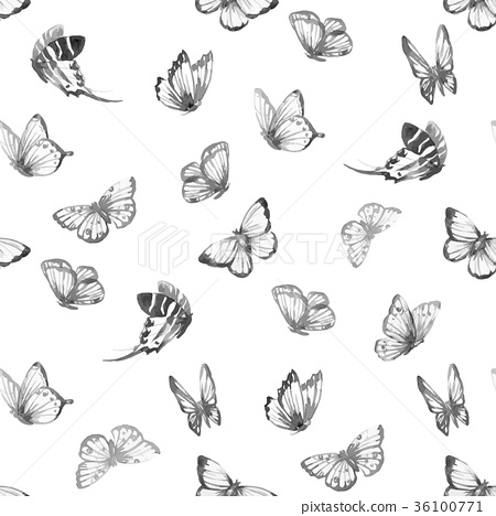 Watercolor butterfly vector pattern 36100771