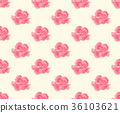 Pink Carnation Seamless on Beige Ivory Background 36103621