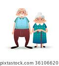 Happy cartoon senior couple. Fanny flat characters 36106620