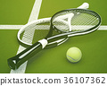 Tennis,rackets,with,ball,on,green,court,background 36107362