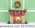 Christmas interior fireplace 36107856
