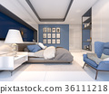 White and blue bedroom style , 3d rendering 36111218
