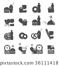 set of fast food order icons vector 36111418