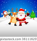 Funny Christmas Characters design on snow. 36111620