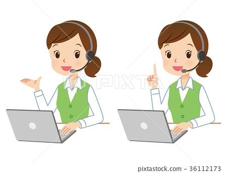 话务员 电脑 事业女性 36112173
