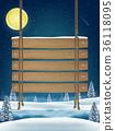 hang wood board sign on night winter lake 36118095