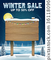 winter sale with wood board sign on winter lake 36118096