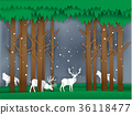 vector of reindeer in winter forest paper style 36118477
