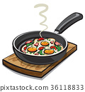 fried eggs with parsley 36118833