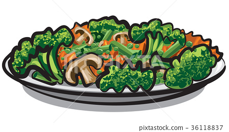 steamy boiled vegetables 36118837