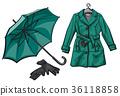 umbrella, vector, raincoat 36118858
