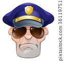Mean Angry Cartoon Police Man Cop in Shades 36119751