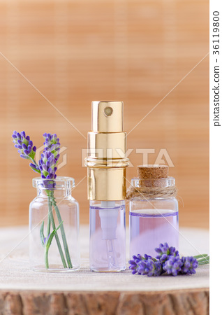 lavender water in glass bottles and fresh lavender 36119800