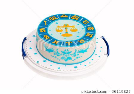 birthday cake with zodiac symbols and libra 36119823