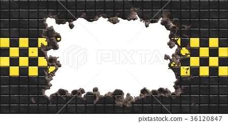 鮮豔細緻的毀壞龜裂破洞在瓷磚上材質背景,前視圖(無縫接圖,高解析度 3D CG 渲染∕著色插圖) 36120847