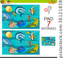 differences game with fish characters 36121838