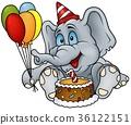 Birthday Elephant Sitting by a Cake 36122151