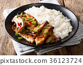 spicy king oyster mushrooms with chili and onions 36123724