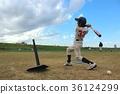 푸른 하늘 아래 배팅 연습 야구 소년 36124299