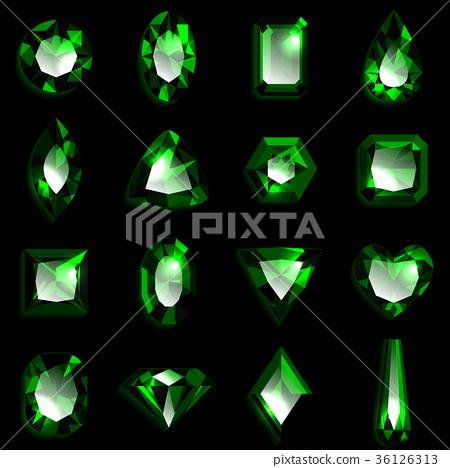 寶石綠色祖母綠 36126313