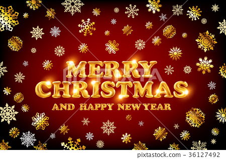 gold Merry Christmas and Happy New Year red  36127492