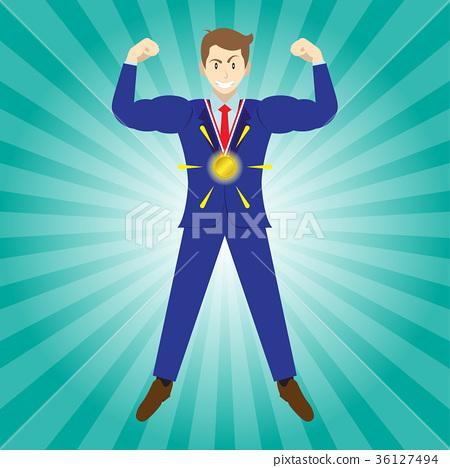 Businessman Wears Gold Medal 36127494