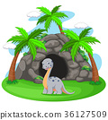 Dinosaur in front of the cave 36127509