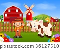 Farmer with cow 36127510
