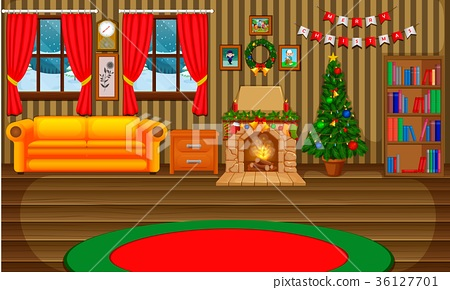 Christmas Living Room With A Tree And Fireplace Stock Illustration