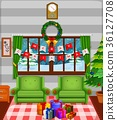 Christmas living room with a tree and fireplace 36127708