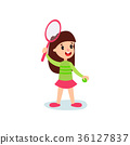 Smiling little girl character playing tennis or 36127837