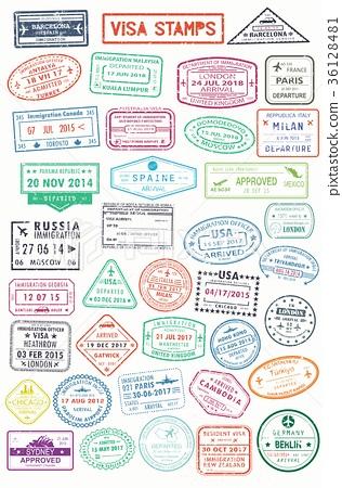 Passport Stamps Or Visa Pages For Traveling Abroad Stock Illustration 36128481 Pixta