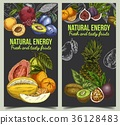 Banner for grocery market with fruits 36128483