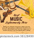 Banner of music instruments for shop or store 36128490