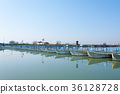 Bridge of boats perspective view 36128728