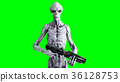 Alien isolate on green screen. UFO concept 36128753
