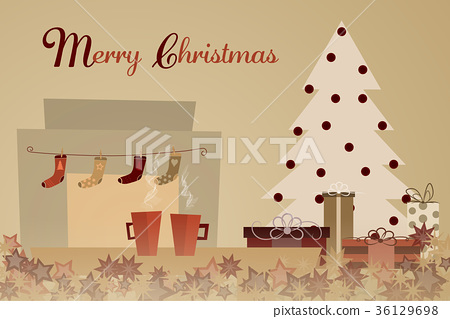 Two cups with Christmas tree, presents and socks 36129698
