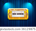 theater sign ticket on curtain with spot light 36129875