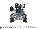 Military robot tank, front view 36130442