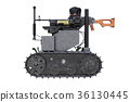 Military robot tracks, side view 36130445
