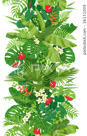 Tropical Plants Seamless Vertical  Border 36131009