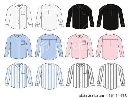 Long-sleeved shirt · shirt · Y shirt illustration template set 36134418
