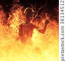 3D Illustration Demon Woman Burns In A Hellfire 36134512