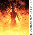 3D Illustration Demon Woman Burns In A Hellfire 36134527