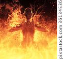 3D Illustration Demon Woman Burns In A Hellfire 36134536