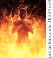 3D Illustration Demon Woman Burns In A Hellfire 36134559
