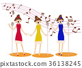 Female singer. chorus. musics. The person who sings. jazz. 36138245