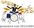 音樂剪貼畫。鼓。鼓手。打擊樂。 36141684
